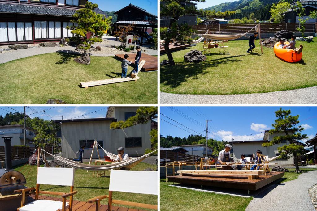 庭のリノベーション事例、キャンプ道具を使い休日の家族団らんやテレワークなど庭を自由に活用すした状況の写真